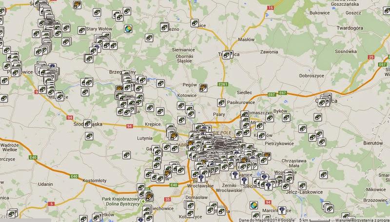 Geocaching, mapa