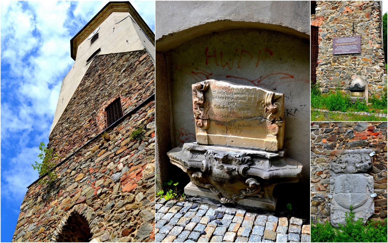 Zawidów, wieża dawnego kościoła p.w. Najświętszej Marii Panny, epitafia, geocaching